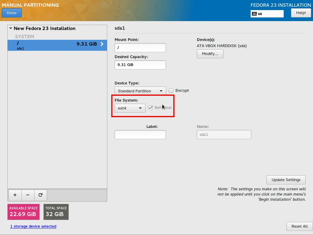 Set ext4 root Partition