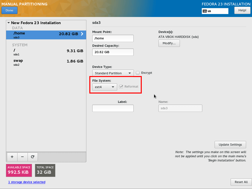 Set ext4 as Home Partition