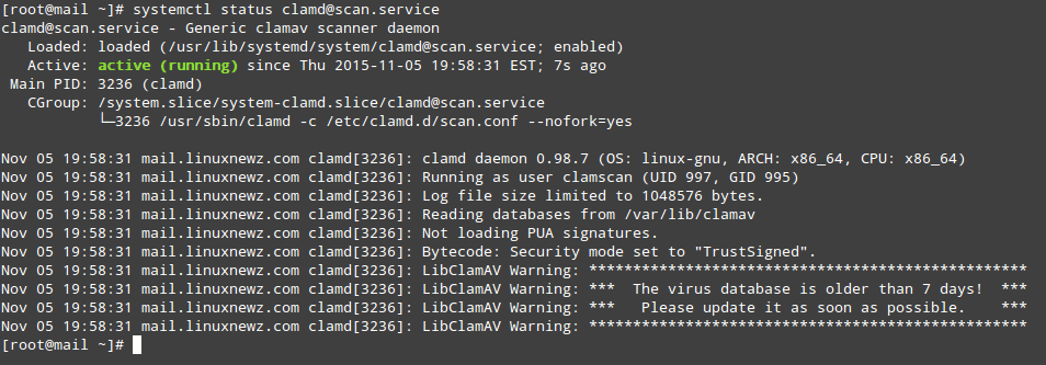 Start and Update ClamAV Virus Definitions