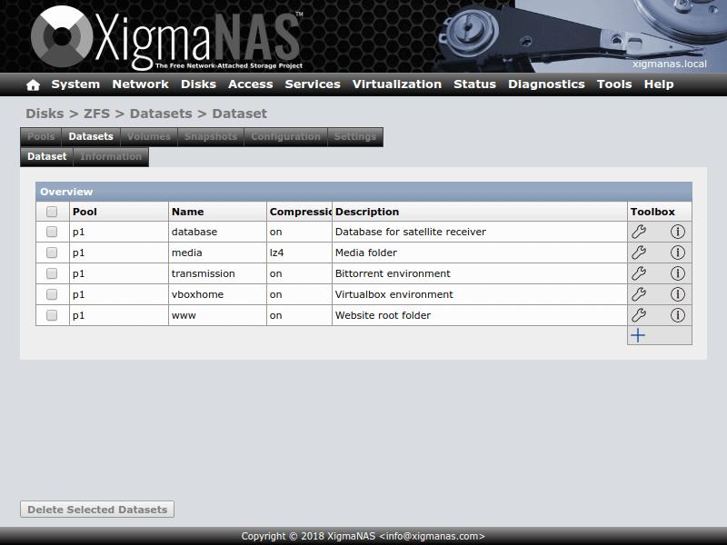 Lưu trữ đính kèm mạng XigmaNAS