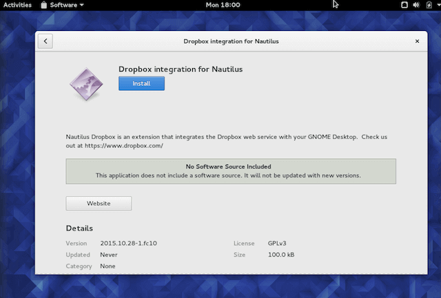 Install Dropbox in Fedora 23