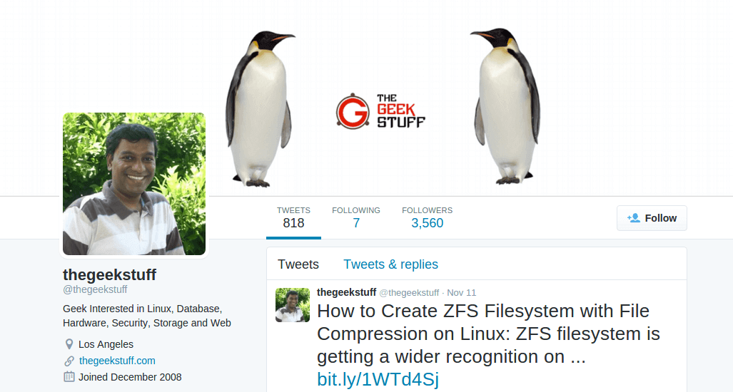Follow @thegeekstuff