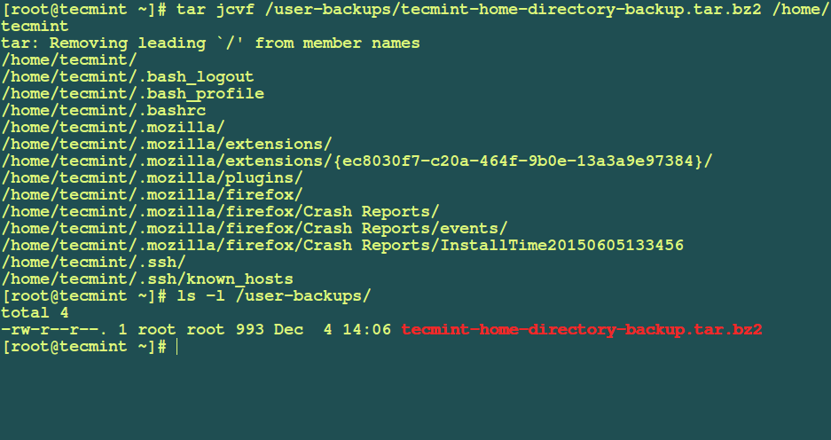 Backup User Home Directory in Linux
