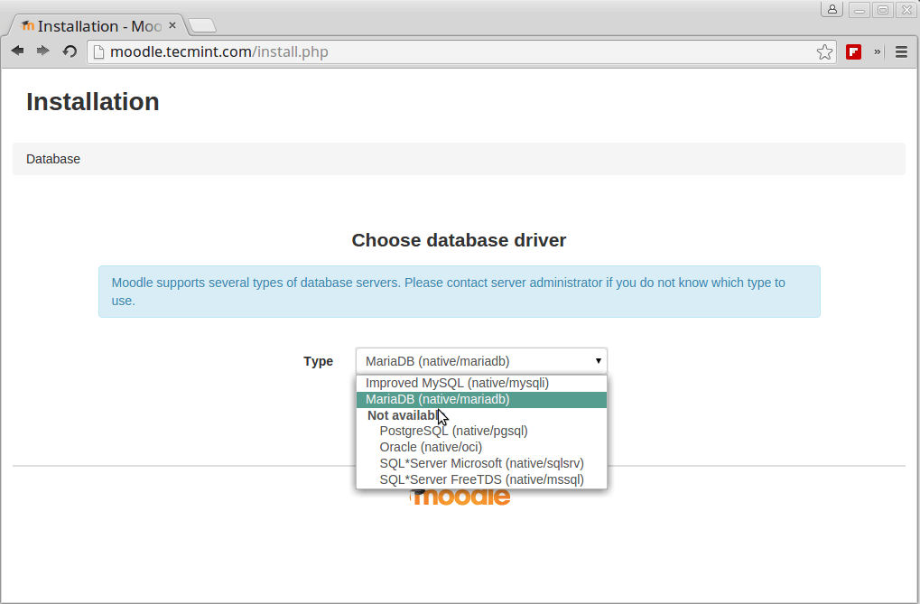 Choose Moodle Database Driver