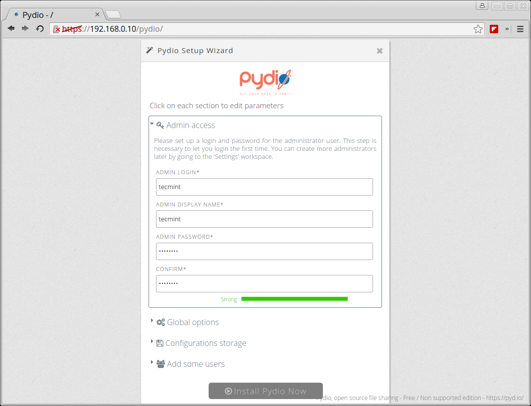 Create Pydio Admin Account