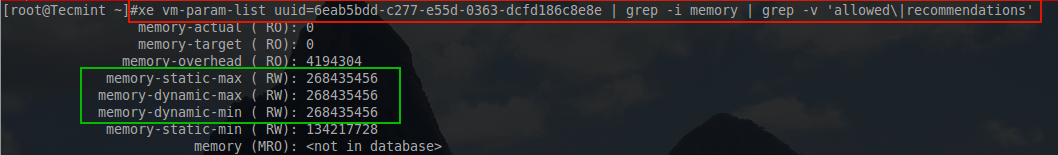 Check XenServer Guest Memory List