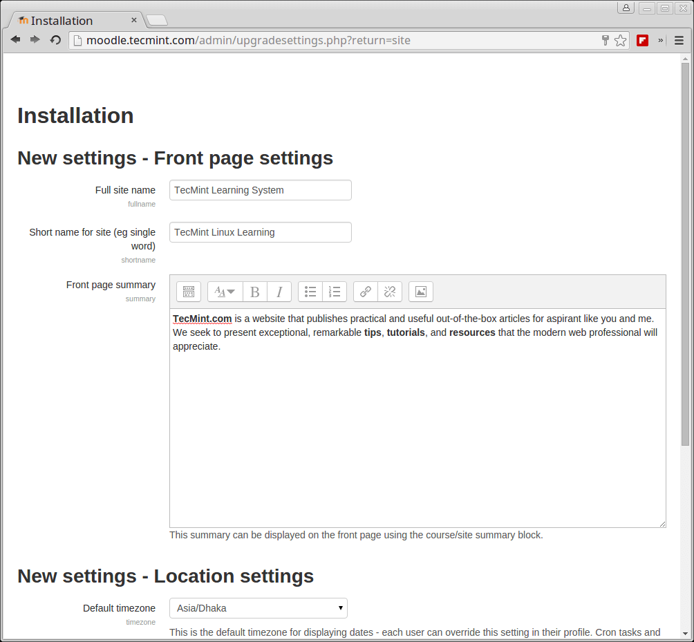 Moodle Frontpage Settings
