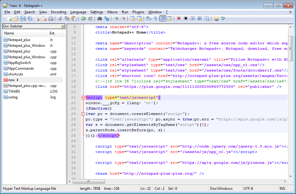 Notepad++ Source Code Editor