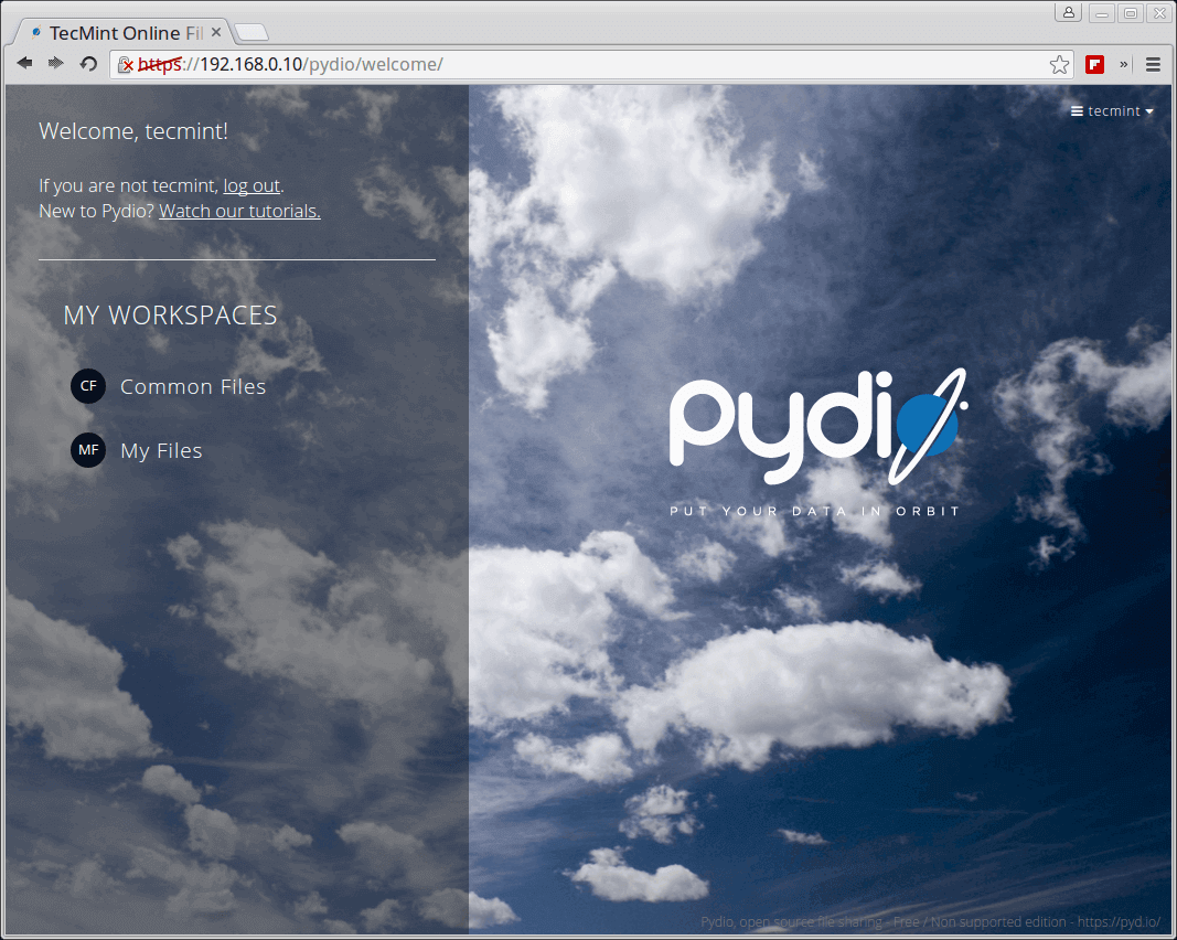 Pydio Dashboard