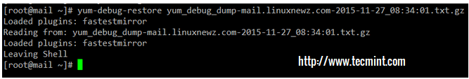 Restore Yum Dump File