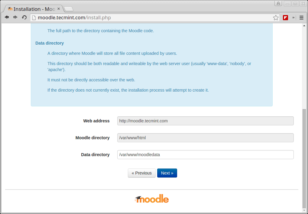 Set Moodle Data Directory