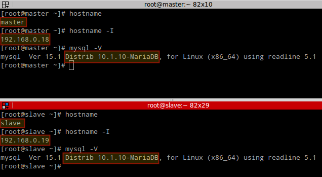 Check MariaDB Version on Master Slave-Server