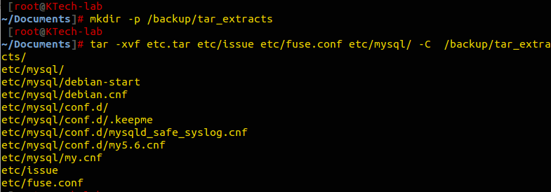 Extract Specific Files From Tar Archive