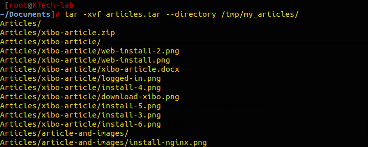 Extract Tar Files to Specific Directory