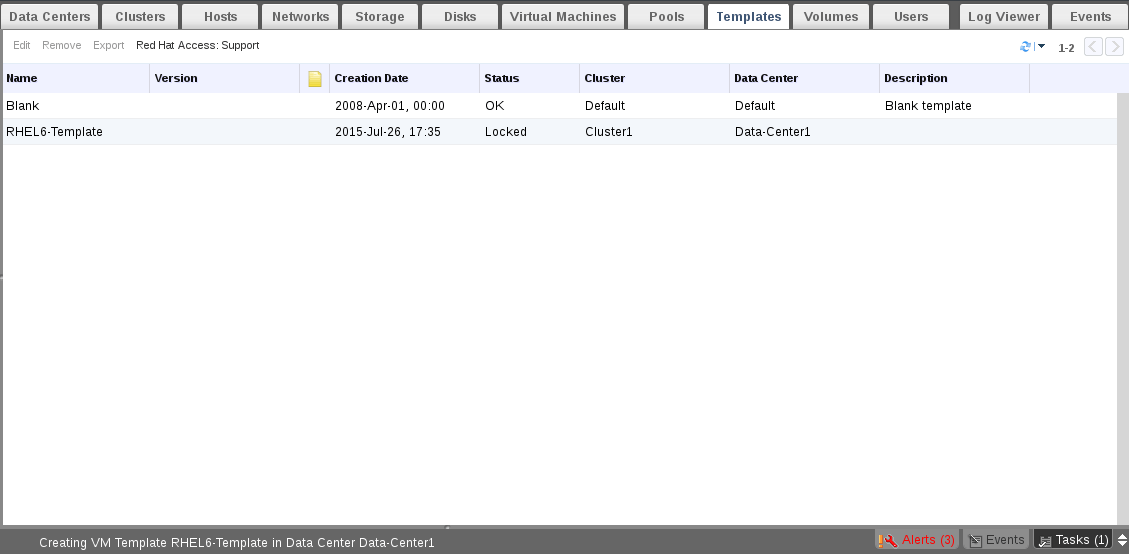 Monitor Template Status