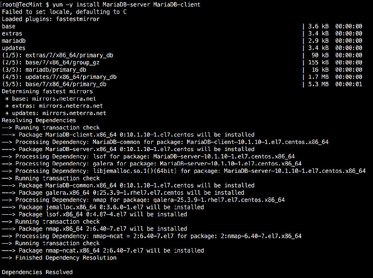 Install MariaDB 10 on CentOS/RHEL 7