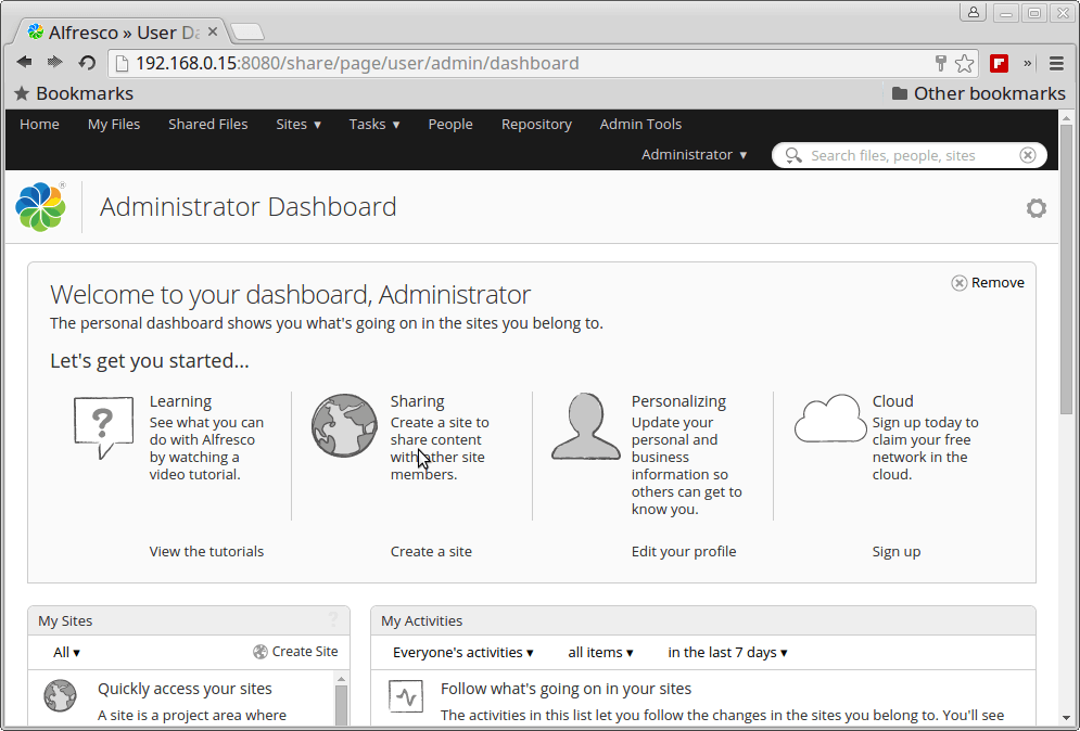 Alfresco Administrator Dashboard