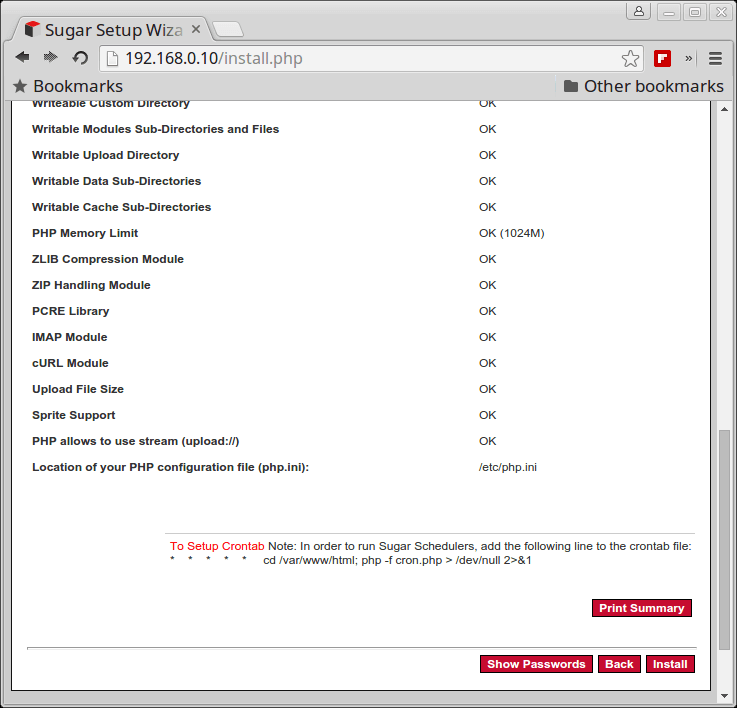 Confirm SugarCRM Settings