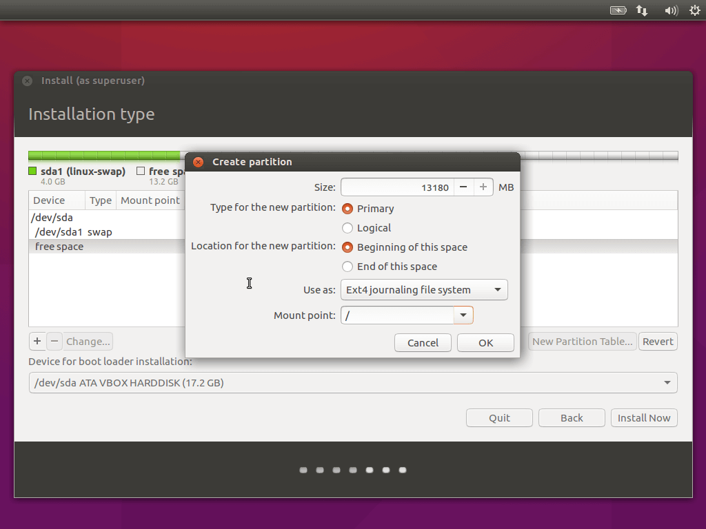 Create Root Partition for Ubuntu 16.04
