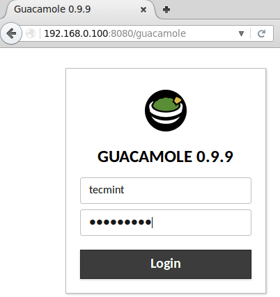 Guacamole Login Interface