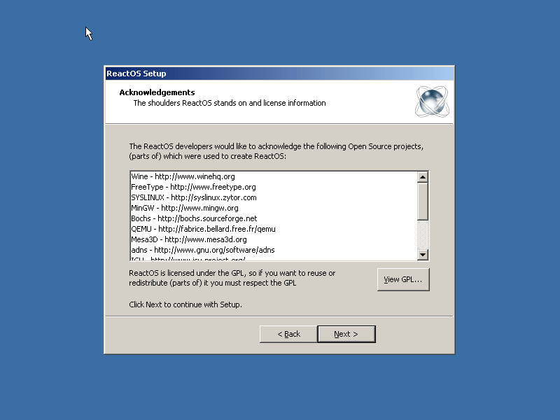Select ReactOS Acknowledgement