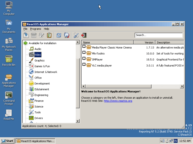 ReactOS Application Manager