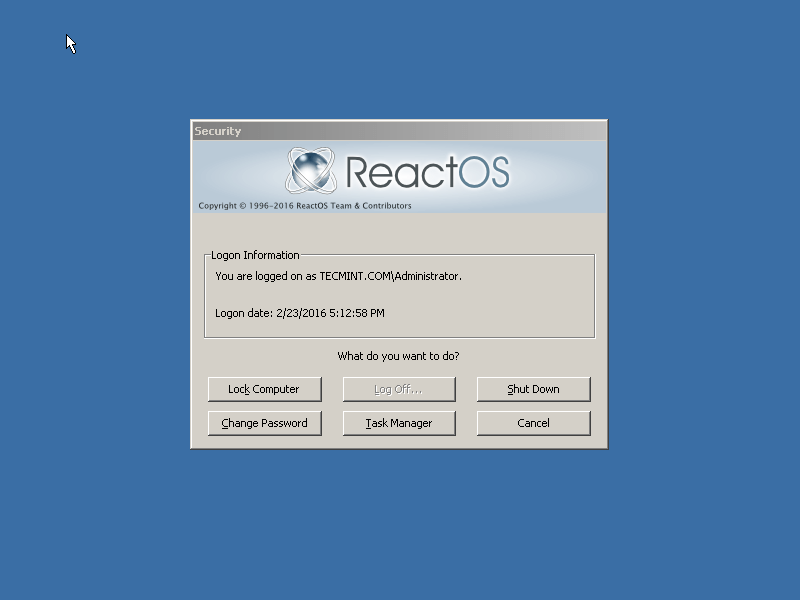 ReactOS Login Screen