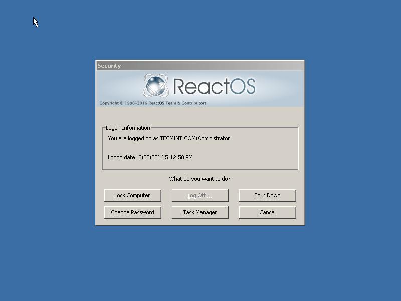 ReactOS Login Screen