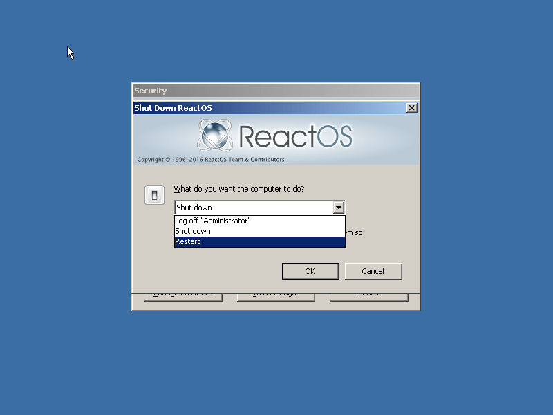ReactOS Shutdown Options
