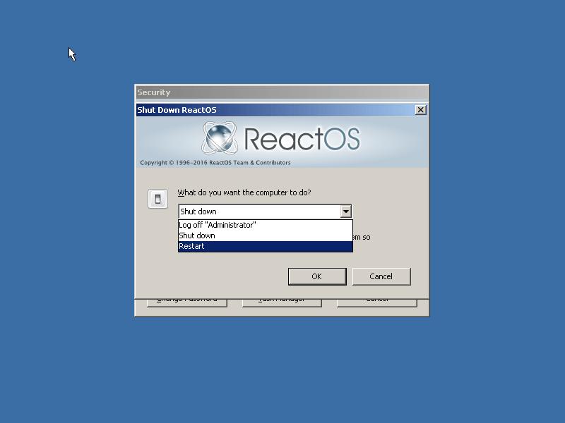 ReactOS Shutdown Options