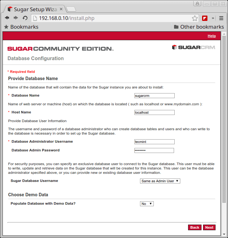 SugarCRM Database Configuration