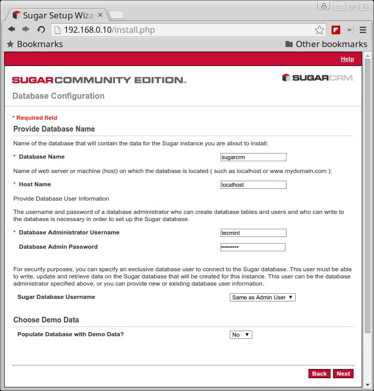 SugarCRM Database Configuration