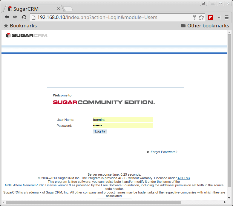 SugarCRM Login