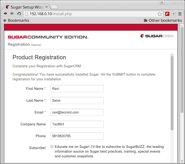 SugarCRM Registration