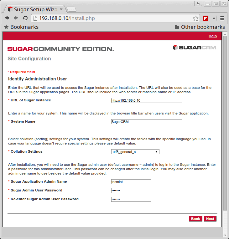 SugarCRM Site Configuration