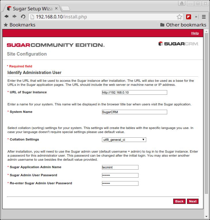 SugarCRM Site Configuration