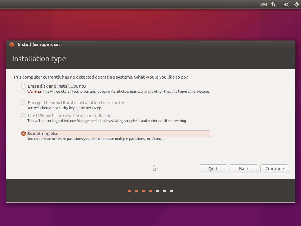Ubuntu 16.04 Manual Partitioning