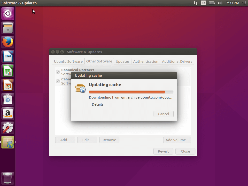 Ubuntu 16.04 Updating Cache