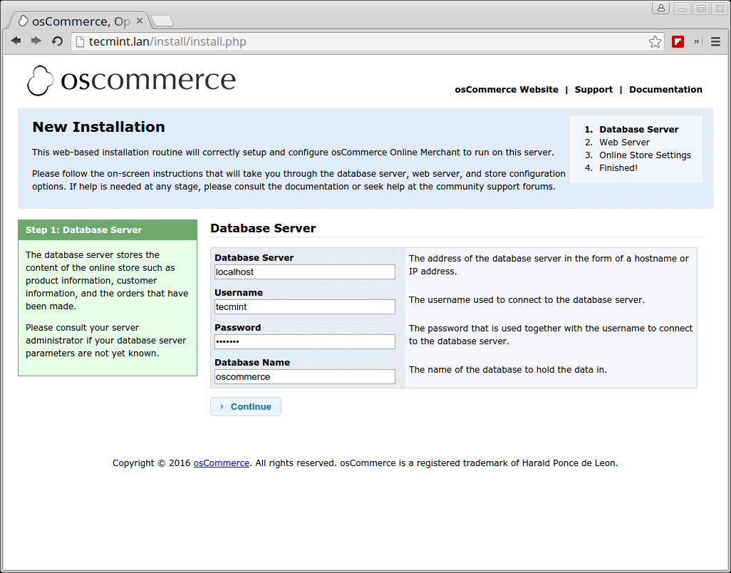 osCommerce Database Server Setup