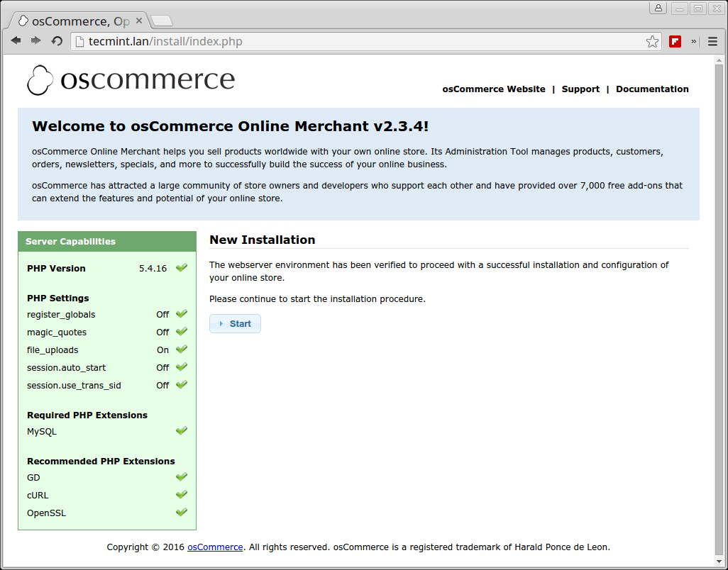 osCommerce Installation in Linux