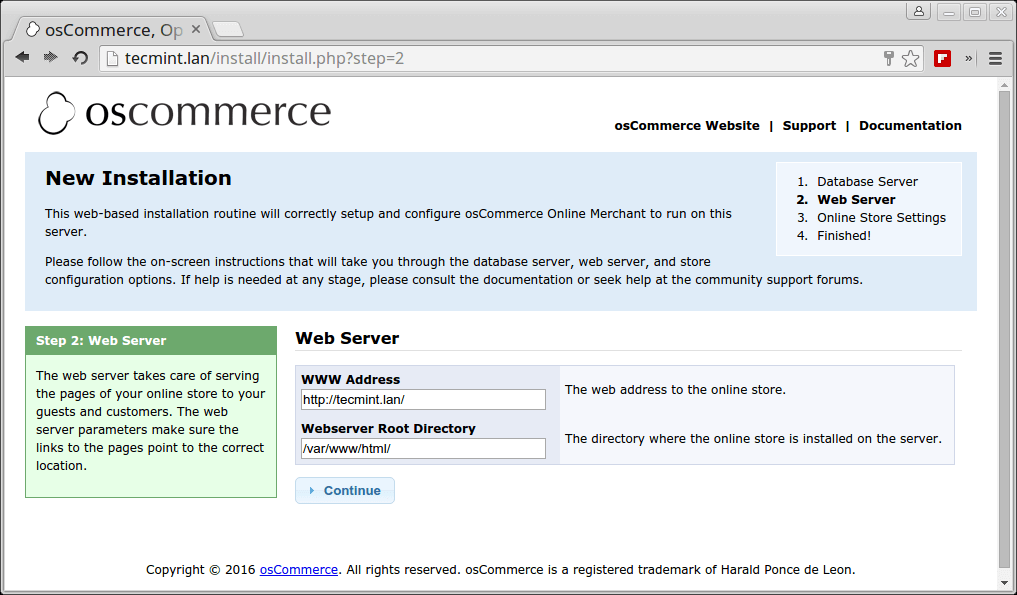 osCommerce Web Server Setup