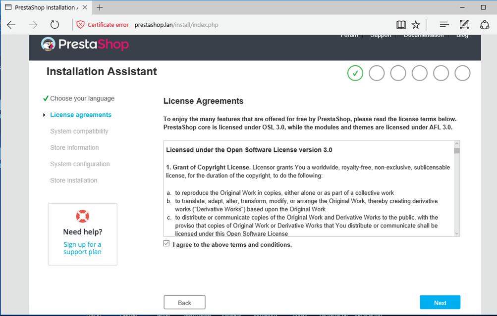 Accept Prestashop Agreement
