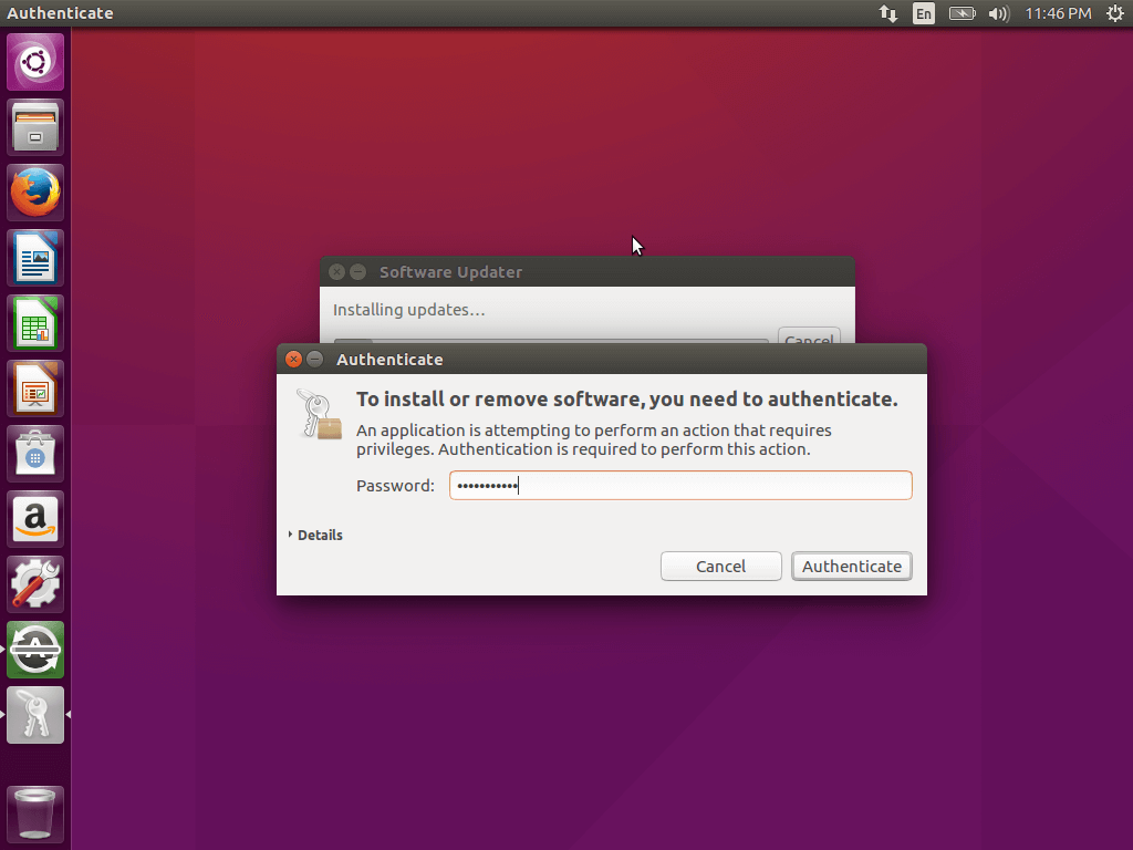 Enter Root Password to Update Ubuntu