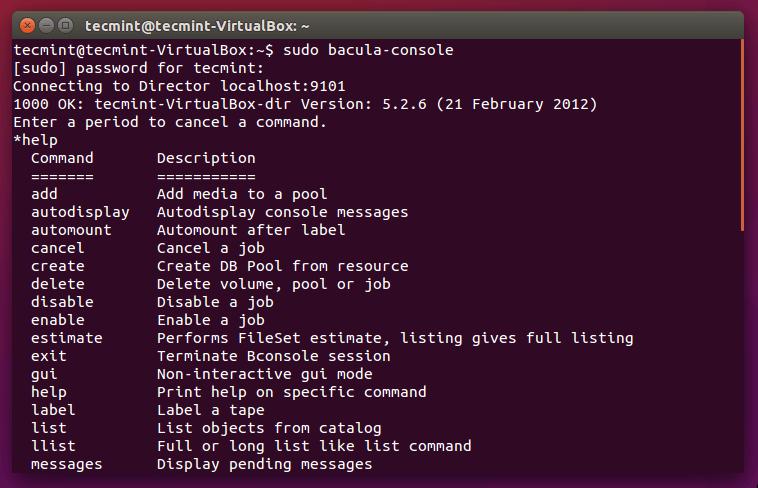Bacula Backup Tool para Linux