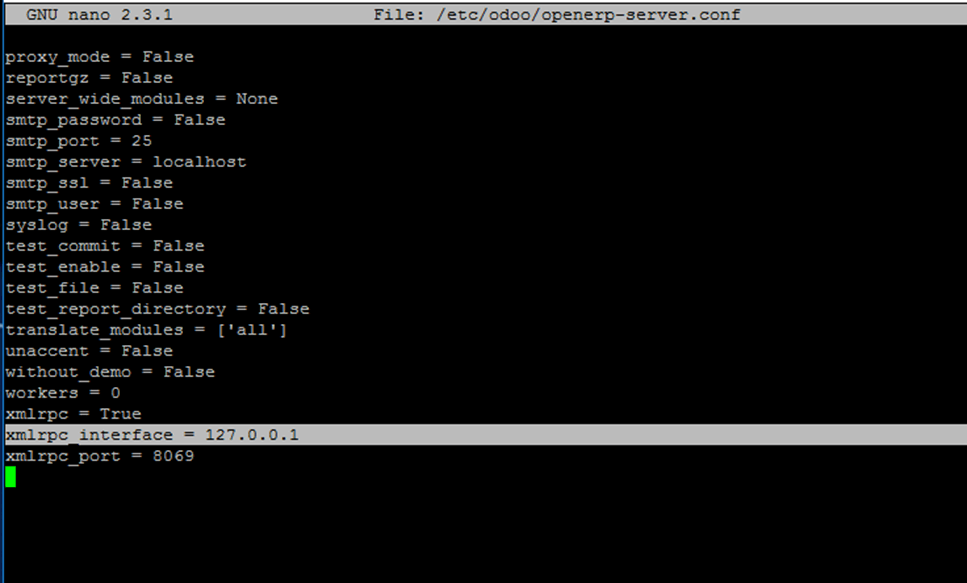 Configure Odoo Interface