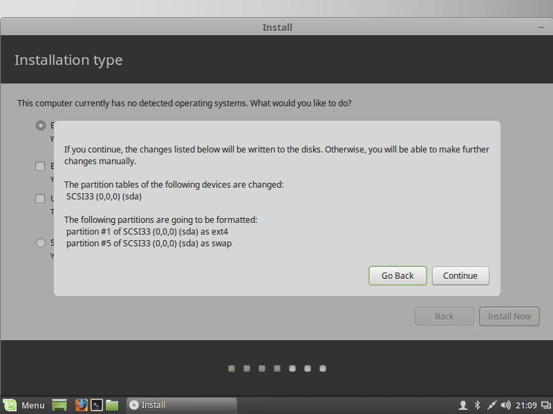 Confirm Linux Mint Installation Disk