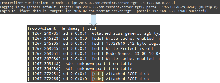 Connecting to iSCSCI Target Server in Node Mode