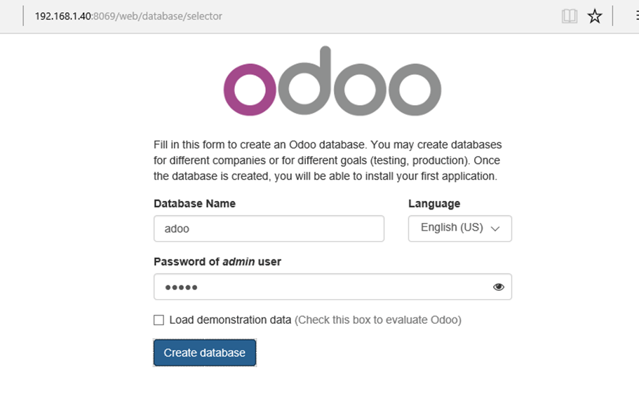 Create Odoo Database