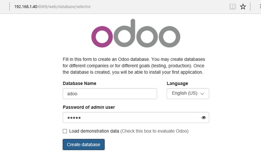 Create Odoo Database