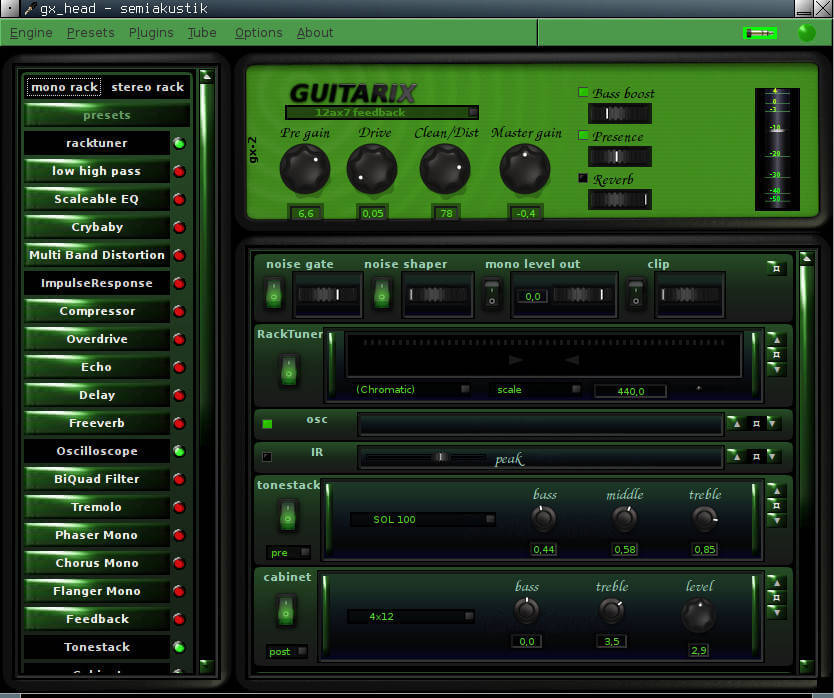 Guitarix Running on Linux